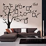 Woneart Sticker mural en PVC, amovible, noir, immense, motif arbre avec cadre photos,...