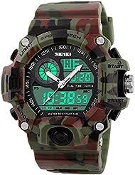 Hommes Sport extérieur Montre Casual militaire analogique numérique LED étanche