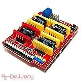 AZDelivery ⭐⭐⭐⭐⭐ CNC Shield V3 Development Board für A4988 Schrittmotor Treiber Stepper für 3D Drucker und Arduino UNO R3