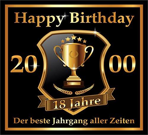 3 St. Aufkleber Original RAHMENLOS® Design: Selbstklebendes Flaschen-Etikett zum 18. Geburtstag: 2000 Der beste Jahrgang