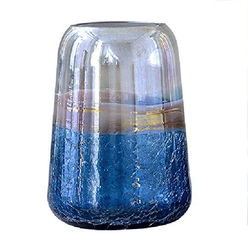 Vasen Transparente Glasvase Ice Cracked Perlglanz Hydroponische Pflanze Dekoration Restaurant Handwerk Amerikanischen Wohnzimmer Geschenk (Color : Blue, Size : 19.8x11.5x27cm) Ice Blue Vase