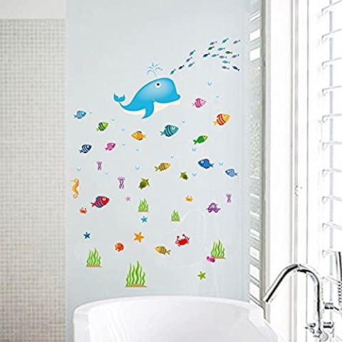 ufengke® Dauphin Poisson Monde Sous Marin Stickers Muraux, Salle de Bains Toilettes Autocollants Amovibles