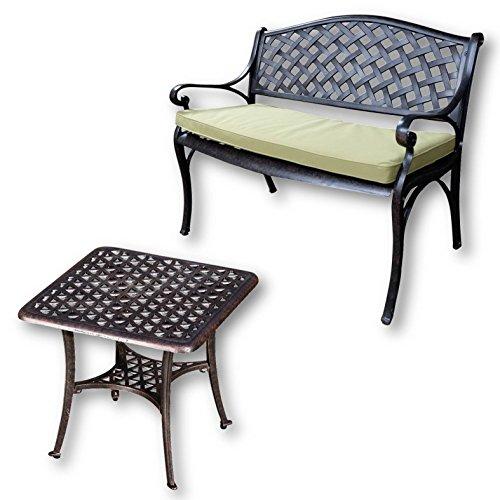 Lazy Susan - JASMINE Gartenbank und SANDRA Quadratischer Kaffeetisch - Gartenmöbel Set aus Metall, Antik Bronze (Grünes Kissen)