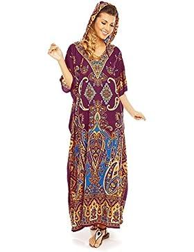 Tunica da donna, lunga fino ai piedi, oversize, kimono, caftano con cappuccio
