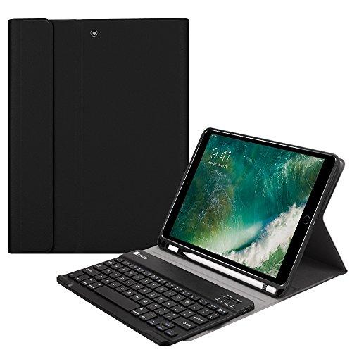 Fintie Tastatur Hülle für iPad 9.7 2018 (6. Generation), Soft TPU Rückseite Gehäuse Keyboard Case mit eingebautem Pencil Halter, magnetisch Abnehmbarer QWERTZ Bluetooth Tastatur, Schwarz Generation Gehäuse