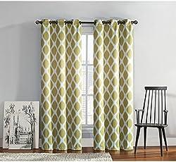 Dekor World Cotton Blue Printed Eyelet Curtain Set (Pack of 2)-110x150cm (4x5Feet) Window Curtain