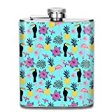 deyhfef Myna Flamingo and Pineapple Wine Water Hip Flask for Liquor Stainless Steel Bottle Alcohol 7oz