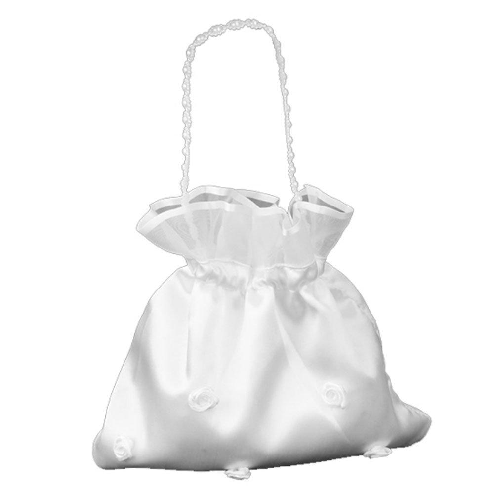 LEORX Rosa raso Money Bag borsa Bag di Dolly raso nuziale (perla fiore)