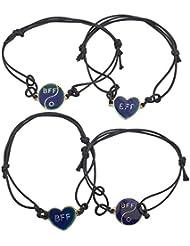 LUX accesorios Color Dorado Best Friends BFF Estado de Ánimo joyería pulsera de cuerda (Set (4piezas)