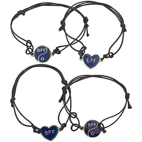 Lux accessori oro migliori amici BFF Mood gioielli braccialetto di corda Set (4pezzi)