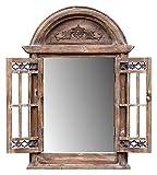 amadeco Spiegelfenster Rundbogenfenster Spiegel mit Fensterläden Klappläden - aus Holz - im Landhaus Shabby Chic Vintage Stil - Braun