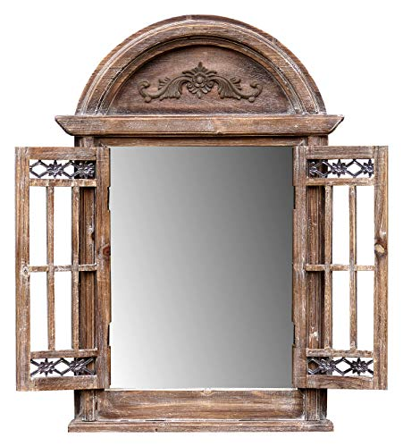 fenster spiegel holz amadeco Spiegelfenster Rundbogenfenster Spiegel mit Fensterläden - aus Holz - im Landhaus Stil - Braun
