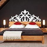 Klassische Bett-Kopfteil, für Doppelbetten, Vinyl, Wanddeko, geschnitzt, für Bett-Kopfteil Wandtattoo, Vinyl, Schlafzimmer, Vinyl, Blaugrün, 30