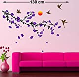 Life Stickers Purple Flowers Birds Fly Sun Wall Sticker5006 (Wall Covering Area : 130 cm x 90 cm)