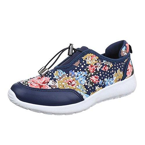 Damen Schuhe, B80B-SP, FREIZEITSCHUHE SNEAKERS Blau Multi