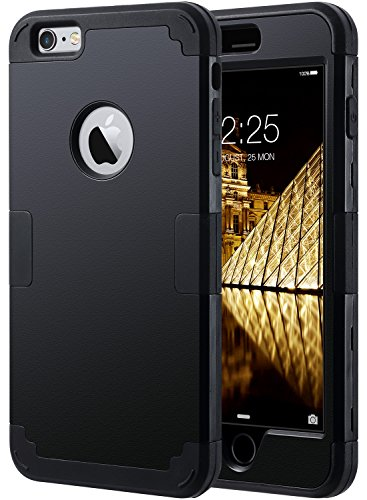 iPhone 6 Plus Case, iPhone 6S Plus Case, Ulak DREI Schicht Heavy Duty High Impact Resistant Hybrid Schutzhülle für iPhone 6/6S Plus (nur für 14 cm), schwarz (Hybrid Schutzhülle 6 Iphone Fall)