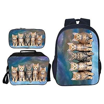 Nueva impresión en 3D Bolsa para niños Mascota Animal Gato Escuela Primaria Mochila Bandolera Bolsa de papelería Bolsa de Tres Piezas Traje Bolsa de Hombro se Puede Personalizar Imagen