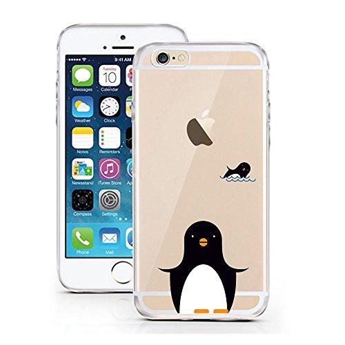 Blitz® PUSHER 2 motifs housse de protection transparent TPE iPhone Pooow M10 iPhone 4 2 pingouins M12