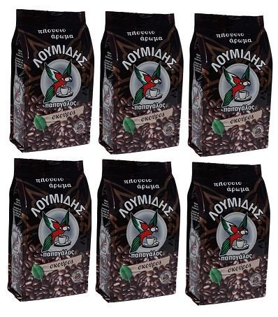 6x 200 g griechischer Mokka Kaffee dunkel Loumidis Skouros DARK Mocca Cafe Spar Paket 1,2 kg aus...