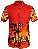 SSLR Herren Druck Kurzarm Freizeit Urlaub Aloha Hawaii Hemd (Medium, Rot)
