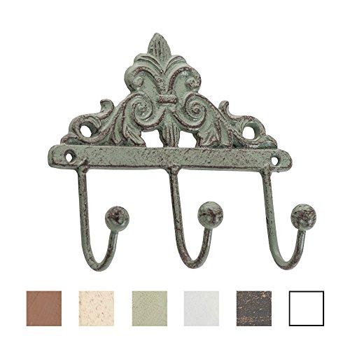 CLP 3er Garderoben-Haken MELINDA im Landhaus Stil, Breite 17 cmx, in bis zu 6 Farben antik grün
