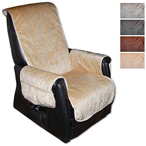 Sesselschoner Polsterschoner Sesselauflage Überwurf Gesteppt, Größe ca.: 160 x 150 - Farbauswahl: Beige - Creme