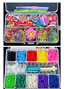 50 x Chic Charms / Anhänger / Zubehör 100 x S-Clips 100 x C-Clips + 3 x Haken+2000pcs Gummibänder (10 Farben 200pcs X / Farbe) 1 X Loom Vorstand 1 X Multifunktions Crochet 2 Taschen S-Clips 10 X Loom rubber Bands Charm (ranson Stil)