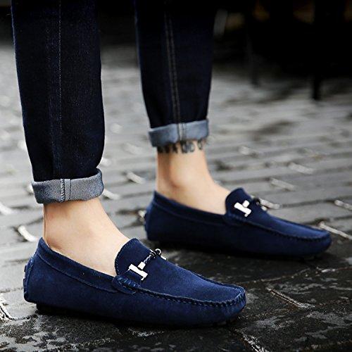 Icegrey Herren Mokassin Casual Wildleder Suede Fahren Schuhe Halbschuhe Blau