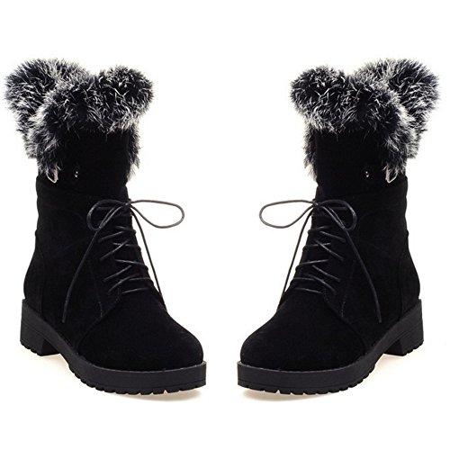 TAOFFEN Damen Flache lässige Schuhe Schnürung Winter Martin Stiefel Schwarz