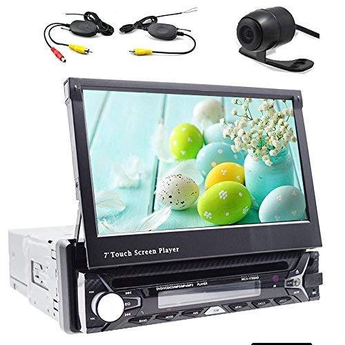 Rückfahrkamera inbegriffen!Autoradio, Bluetooth Auto-DVD- / CD-Spieler, GPS-Navigation, 7-Zoll-Bildschirm, abnehmbar, Lenkradsteuerung (Auto-dvd-doppel-din-abnehmbare)