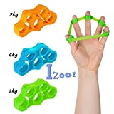 #10: Izoo Best Finger Exerciser 3 Pcs Resistance Bands Hand Grip Strengthener Extender Trainer Stretcher Gripper Extensor