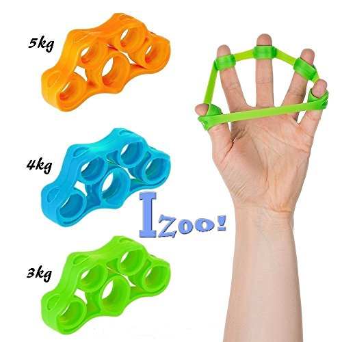 Izoo Silicone Resistance Bands Hand Grip Strengthener Extender Trainer - Set of 3