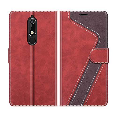 MOBESV Nokia 5.1 Hülle Leder, Nokia 5.1 Tasche Lederhülle Wallet Case Ledertasche Handyhülle Schutzhülle für Nokia 5.1 Version 2018, Modisch Rot