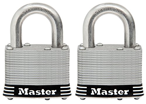 Master Lock Padlock, Laminated Stainless Steel Lock, 2 in. Wide, 5SST (Pack of 2-Keyed Alike) -