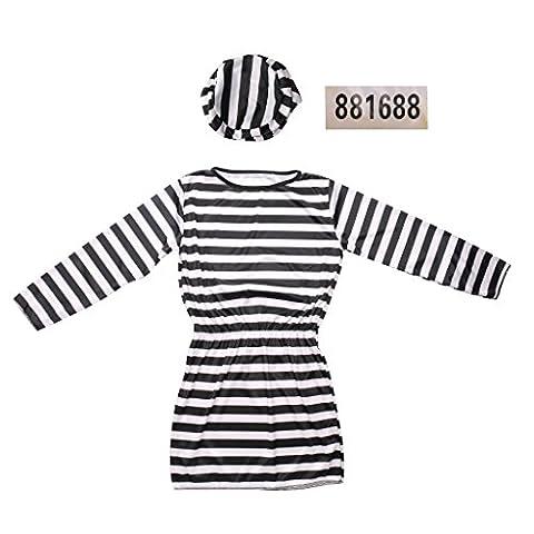Femme Costumes De Prisonniers - Gazechimp Noir et Blanc Rayure Robe de