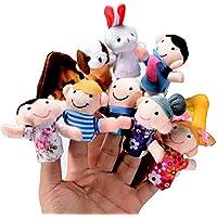 ThinkMax 10pcs dedo marionetas, terciopelo bebé historia tiempo Props, suave juego de marionetas de mano muñecas juguetes educativos para bebés y niños pequeños