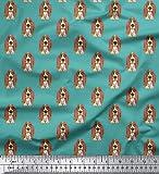 Soimoi 55 GSM Basset Hound Dog Print 42 Zoll breit Viskose