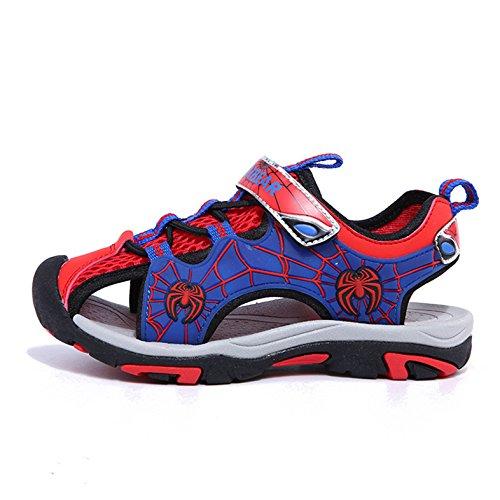 Unisex-Kinder Frühling und Sommer Geschlossene Zehen Leichtgewicht Hohl Sportliche Schnellverschluss Spideman Jungen Mädchen Lässige Schnürsenkel Sportliche Sneakers Rot