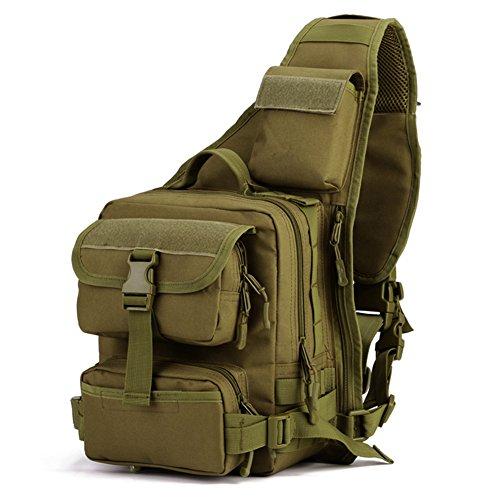 Huntvp Taktisch Brusttasche Militär Schulterrucksack Wasserdicht Crossbody Bag Sporttaschen Schultertasche Sling Rucksack Mehrfunktional mit Verstellbar Schultergurt - Braun