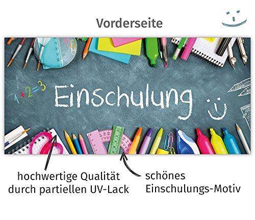 beriluDesign Einschulung Einladungskarten mit Umschlägen (12er Set) Zum Schulanfang | Liebevoll Gestaltete Einladungen für Kinder Zum Schulbeginn - 4