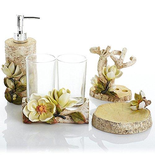 Bagno di resina 5 Pezzo bicchiere di risciacquo portaspazzole Kit da bagno vanità consente di impostare le tariffe di spedizione Assicurazione
