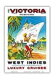 Pacifica Island Art Indias Occidentales, escandinava, Mediterráneo-Incres línea de cruceros de Lujo-MS Victoria Crucero-Revestimiento Marino del Vintage Cartel del Viaje c.1971-13inx19in