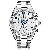 BUREI Reloj de Pulsera de Cuarzo Chronograph para Hombre con Esfera analógica multifunción y Brazalete de Acero Inoxidable.