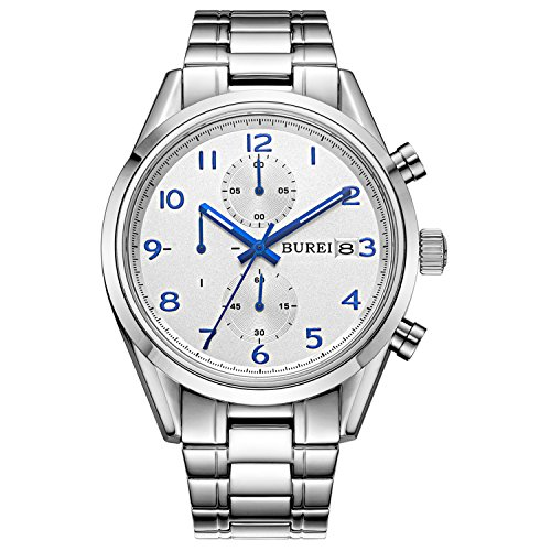BUREI Damen Quarz Armbanduhr mit schwarzem Zifferblatt Edelstahlband (Silber-blau)