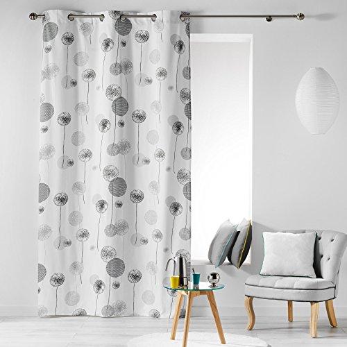 Cotone di interno tina tenda a occhielli, cotone, grigio, 140 x 280 cm