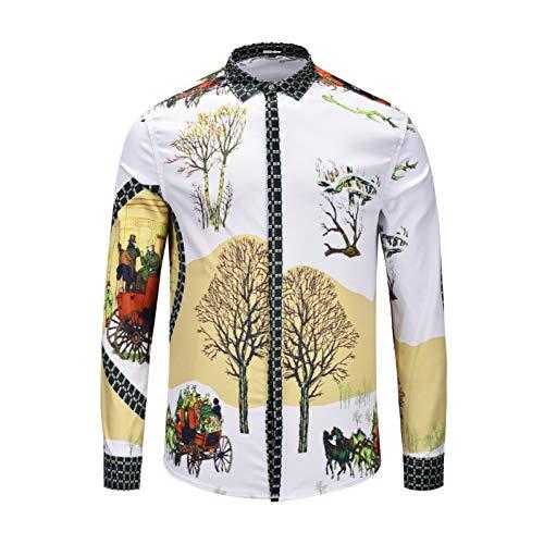 Charakter-jugend-t-shirt (CHENS Langarm/Slim fit/Strand/XL Herren Shirt gedruckt Checker Trainer Horse Tree Charaktere Winter Schnee Ansicht Mode Westernstyle Jugend Longsleeved)