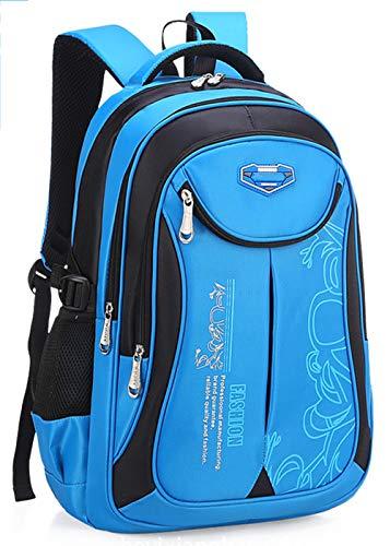 DULEE Mädchen Jungen Wasserdichte Schultasche Rucksack Reisetaschen Buch Tasche 6-12 Jahre alt (Blau/Klein)