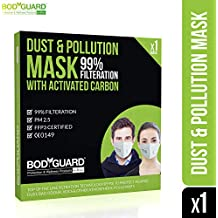 BodyGuard PM 2.5 Anti Dust and Pollution Face Mask with Exhalation Valve, Upto 99% FFP3 Level Filtration Technology with Activated Carbon for Men and Women (White)