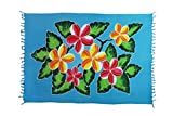 2 er Set Original Yoga Sarong Pareo Wickelrock Strandtuch Rund ca 170cm x 1110cm Handtuch Schal Kleid Wickeltuch Wickelkleid Türkises Blumen Muster