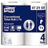 Tork 472159 Rotoli Carta Igienica Advanced, compatibile con sistema T4, 2 veli, 12 confezioni x 4 rotoli (4 x 24,7 m), 198 strappi x rotolo, bianco